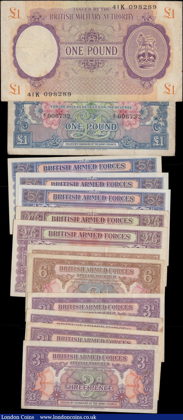 British Armed Forces & Military Authority (13) in various grades VF-GVF to UNC comprising B.M.A 1 Pound World War II  Pick M6 ND 1943-45 series 41K 098289. Along with B.A.F ND 1946 issues (7) including 3 Pence Pick M9a (4), 6 Pence Pick M10a (2) and 1 Pound Pick M15a serial number A/1 006732. Also 2nd series ND1948 (5) including 2 Shillings 6 Pence Pick M19a (2) serial numbers DD/1 328931 and  DD/1 462226 both with metal strip. Along with 5 Shillings (3) consisting of Pick M20a series  CC/I 203631 paper with metal strip. Pick  M20c series CC/1 146043 paper with watermark and red serial number. And Pick M20d Remainder series CD/1 959941 paper with watermark, red serial number and punch-hole cancelled twice. A desirable and collectible group : English Banknotes : Auction 171 : Lot 72