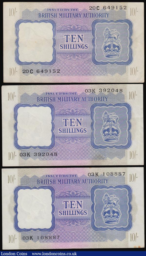 "British Military Authority (3) a mixed grade average VF - GVF trio of the 10 Shillings Pick M5 ND 1943 (3) serial numbers 20C 649152, 03K 392048 and 03K 108887. Each note in Blue on lilac and olive underprint featuring a Crown with lion on top at right and the reverse grey on purple/green. Watermarked with a partially helmeted Athena bust facing left. These notes were used by British troops in Tripolitania, North Africa  introduced in 23rd January 1943 and withdrawn 15th September 1943. Rarity index of 4 out of 7 in T.F.A. Van Elpmt's ""British Military Authority Occupation Currency 1942-56 Europe and North Africa"" : English Banknotes : Auction 171 : Lot 73"