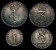 London Coins : A171 : Lot 888 : Maundy Set 1737 ESC 2406, Bull 1769 comprising Fourpence VF with some haymarks, Threepence GVF, Twop...