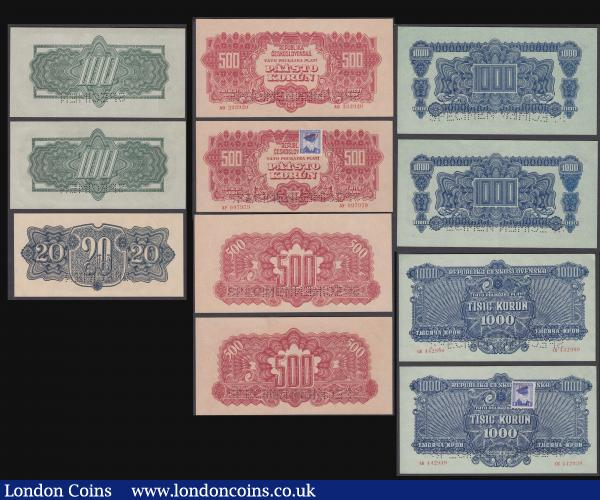 Czechoslovakia Perforated Specimen Set 1944-45 1,000 Korun P48s, 500 Korun P49s, 100 Korun P50s 2 of each note with and without postage stamp, 20 Korun P47s, 5 Korun P46s and 1 Korun P45s these all Unc along with Slovakia 100 Korun P10s 1940 (2) both with postage stamp both Unc but one stained : World Banknotes : Auction 171 : Lot 98