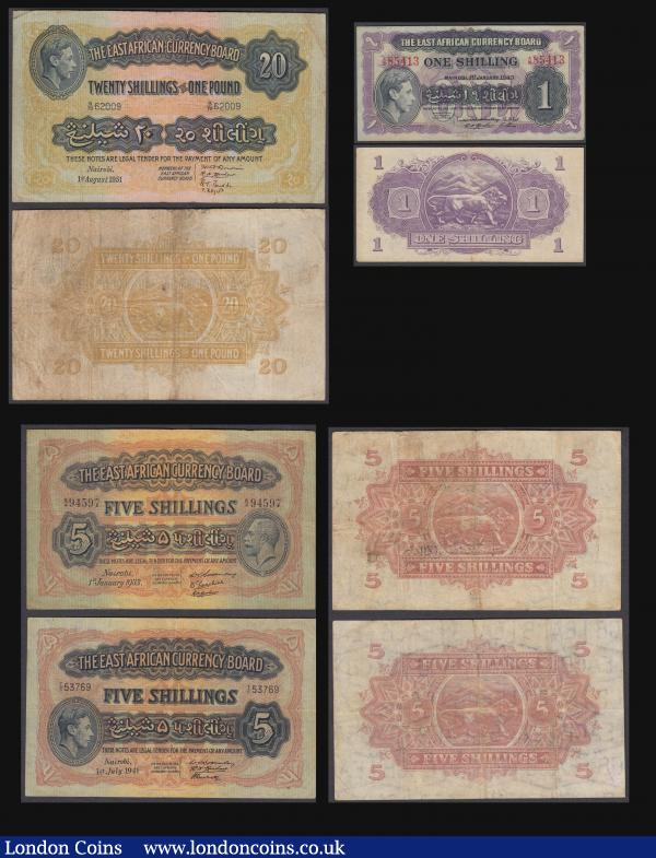 East Africa Currency Board (4) a fine early collection of Scarce issues aVF - GEF comprising a King George V portrait 5 Shillings Pick 20 dated 1st January 1933 serial number K/4 94597 3 signatures, King George VI portrait issues (3) including 1 Shillings Pick 27 dated 1st January 1943 serial number A/10 85413 4 signatures, 5 Shillings Pick 28a dated 1st July 1941 serial number T/6 53769 3 signatures and 20 Shillings = 1 Pound Pick 30b dated 1st August 1951 serial number B/70 62009 4 signatures. All Thomas De La Rue printing  : World Banknotes : Auction 171 : Lot 99