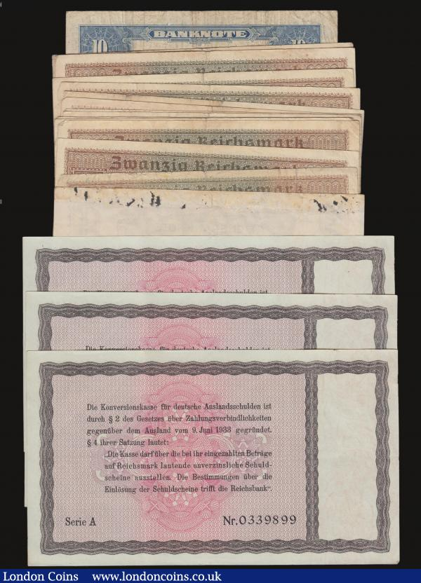 Germany (18) Ten Million Marks, 1-10-1923 Seventh series, with small circles watermark Pick 117b Fine, the reverse with tape residue along the top edge, Ten Reichsmarks 1933 issue Pick 200 (3) EF consecutively numbered Serie A 0339897 to 0339899 EF with light discolouration to the left of each note, 20 Reichsmark (13) undated 1940-1945 issues Pick R139 VG to Fine, Germany Federal Republic Ten Marks 1949 issue Pick 16a VG with small staple holes at the right : World Banknotes : Auction 172 : Lot 100