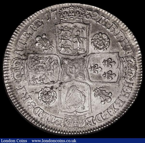 Halfcrown 1732 Roses and Plumes ESC 117, Bull 1660 GVF/NEF with some haymarking and a little underlying lustre : English Coins : Auction 172 : Lot 1021