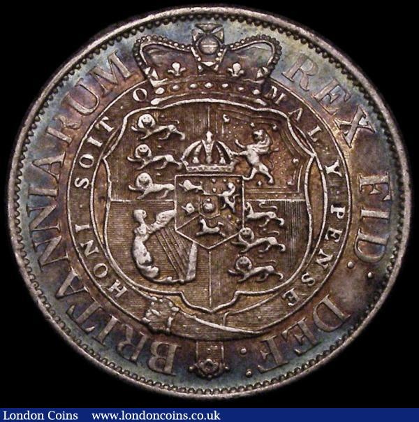 Halfcrown 1818 ESC 621, Bull 2099 NEF and colourfully toned, with some contact marks : English Coins : Auction 172 : Lot 1027