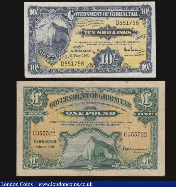 Gibraltar One Pound 1.6.1938 Fine or better Pick 15a and Ten Shillings 1.5.1965 VF Pick 17 with two small ink annotations obverse : World Banknotes : Auction 172 : Lot 105