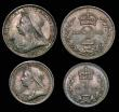 London Coins : A172 : Lot 1104 : Maundy Set 1898 ESC 2513, Bull 3556 A/UNC to UNC the Fourpence and Threepence with some small rim ni...