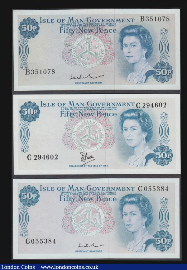Isle of Man (3) a high grade trio of 50 New Pences EF-GEF to UNC similar QE2 designs but different signatory types. Comprising Lieutenant John Paul (2) including the Pick 28b (BY IM23b; IOMPM M513) ND 1975 Large signature type serial number B351078. And the Pick 28c (BY IM23c; IOMPM M514) ND 1979 Small signature type serial number C 055384. Together with the Dawson signature Pick 33a (BY IM24; IOMPM 520) ND 1981 serial number C 294602. : World Banknotes : Auction 172 : Lot 119