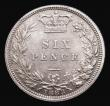 London Coins : A172 : Lot 1283 : Sixpence 1883 ESC 1744, Bull 3255, Choice UNC with an attractive pale gold tone, in an LCGS holder a...