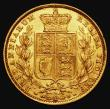 London Coins : A172 : Lot 1350 : Sovereign 1872M Shield Reverse Marsh 59, S.3854 NEF/EF with a few tiny rim nicks