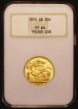 London Coins : A172 : Lot 1426 : Sovereign 1911 Proof S.3996 in an NGC holder and graded PF64