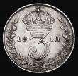 London Coins : A172 : Lot 1477 : Threepence 1919 9 over 8 Bull 3936, Davies 1933 (in appearance looks more like 8 over 9) Fine/Good F...