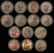London Coins : A172 : Lot 1569 : Halfpennies (14) 1718 First N in BRITANNIA double struck, Fine, 1752 Peck 882 Fine, 1770 Peck 893 (2...