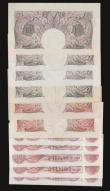 London Coins : A172 : Lot 26 : Ten Shillings Mauve B251 (4) including 2 x ZxxE prefix mixed grades Fine, VF, EF and AU-Unc, Beale B...