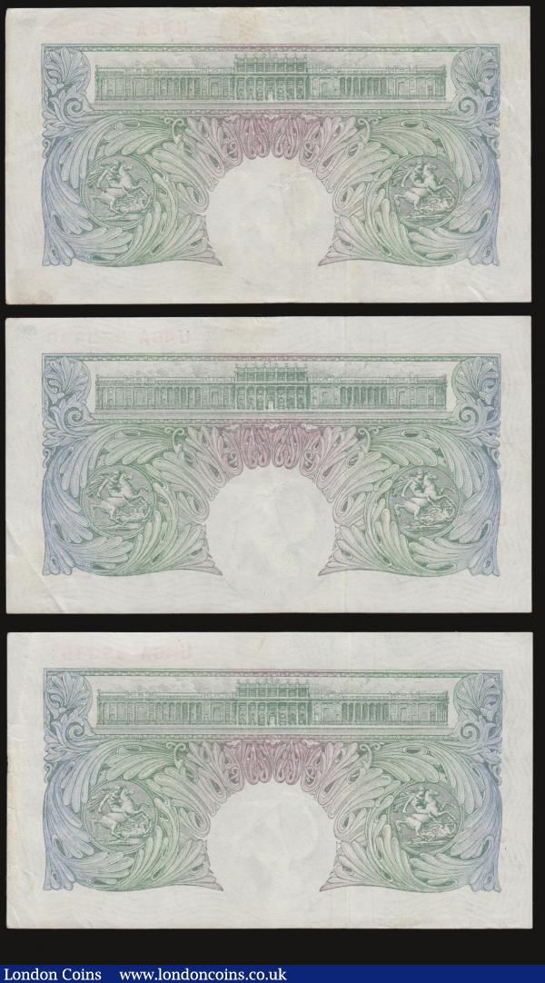 One Pound Green Peppiatt Fourth Period, B260 Threaded issue 1948, (3) consecutive numbers prefix U46A one in EF the other two AU-Unc : English Banknotes : Auction 172 : Lot 29