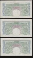 London Coins : A172 : Lot 29 : One Pound Green Peppiatt Fourth Period, B260 Threaded issue 1948, (3) consecutive numbers prefix U46...