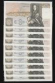 London Coins : A172 : Lot 36 : Fifty pounds Somerset B352 issued 1981 (10 consecutives) series B10 323150 through to B10 323159, Ch...