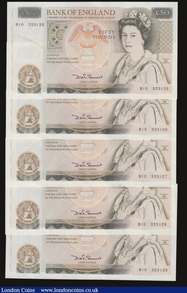 Fifty pounds Somerset B352 issued 1981 (5 consecutives) series B10 323125 through to B10 323129, Christopher Wren on reverse, Pick381a, about UNC-UNC : English Banknotes : Auction 172 : Lot 42