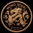 London Coins : A172 : Lot 427 : Hong Kong $1000 Gold 1976 Year of the Dragon KM#40 Proof FDC uncased in capsule with certificate