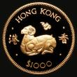 London Coins : A172 : Lot 430 : Hong Kong $1000 Gold 1979 Year of the Goat KM#45 Proof FDC, uncased in capsule with certificate