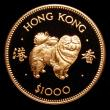 London Coins : A172 : Lot 437 : Hong Kong $1000 Gold 1982 Year of the Dog KM#50 Proof FDC uncased in capsule with certificate