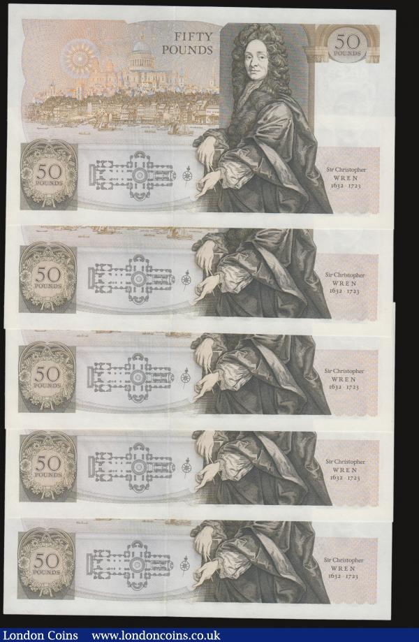 Fifty pounds Somerset B352 issued 1981 (5 consecutives) series B10 323135 through to B10 323139, Christopher Wren on reverse, Pick381a, about UNC-UNC : English Banknotes : Auction 172 : Lot 44