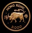London Coins : A172 : Lot 441 : Hong Kong $1000 Gold 1985 Year of the Ox KM#53 Proof FDC uncased in capsule with certificate