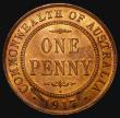 London Coins : A172 : Lot 516 : Australia Penny 1917 I KM#23 A/UNC and lustrous with minor cabinet friction, scarce in this high gra...