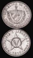 London Coins : A172 : Lot 546 : Cuba (2) 5 Centavos 1916 KM#11.1 UNC with some flecks of toning, 1 Centavo 1916 KM#9.1 with some res...