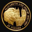 London Coins : A172 : Lot 590 : Guernsey £25 Gold Quarter Ounce 1997 Queen Elizabeth II and Prince Philip Golden Wedding KM#72...
