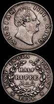 London Coins : A172 : Lot 600 : India Half Rupees (2) 1835 Calcutta Mint, RS incuse on truncation KM#449.4 NVF, 1835 Calcutta Mint, ...