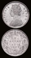 London Coins : A172 : Lot 603 : India Two Annas (2) 1841 Type II, Obverse legend divided, W.W Raised on truncation, Calcutta Mint, n...