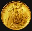London Coins : A172 : Lot 620 : Italy 100 Lire Gold 1931 R IX KM#72 GEF and lustrous with some contact marks, this short series only...