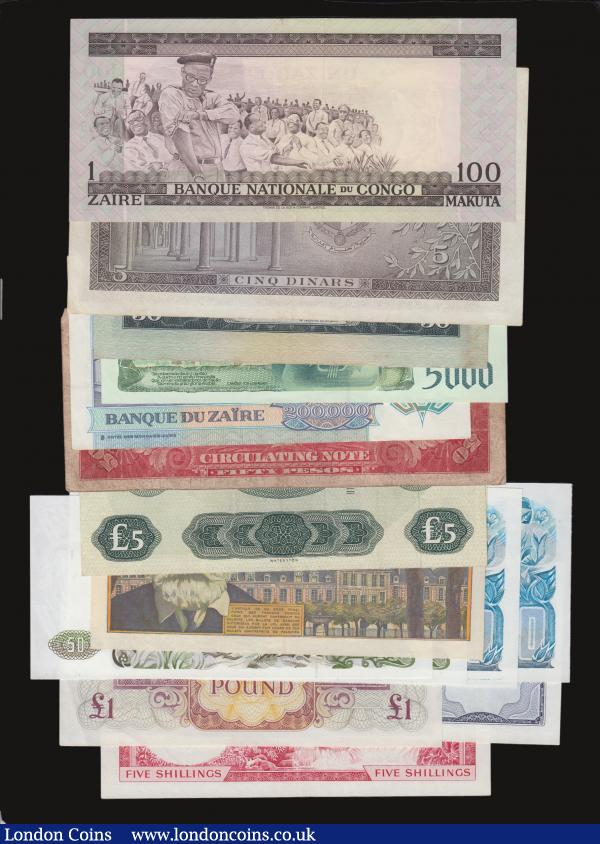 Algeria 50 Dinars 1.11.1977 Pick 130 (2) and 100 Dinars 1.11.1983 Pick 131 Unc, B.A.F £1 4th series EF, Congo DR 100 Makuta 1.10.1970 GVF, Cayman Islands Dollar 1974 prefix A/5 Pick 5b EF, France 500 Francs 2.9.1954 Pick 133a EF, Jamaica 5/- L1960 (1964) VF, Philippines 50 Pesos May 2 1916 VICTORY stamped on the reverse VG, Portugal 50 Escudos 24.6.1955 and 5000 Escudos 2.7.1998 both EF, Scotland Bank of Scotland £5 8.12.1969 VF, Tunisia 5 Dinars 1959 Pick 59 VF, Zaire 200,000 Zaires 1.3.1992 EF : World Banknotes : Auction 172 : Lot 63