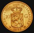London Coins : A172 : Lot 634 : Netherlands 10 Gulden Gold 1898 KM#124 the obverse EF with minor contact marks, the reverse About UN...