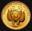 London Coins : A172 : Lot 638 : Niger Ten Francs Gold 1968 Reverse: Ostriches KM#7 Gold Proof FDC, only 1000 pieces minted