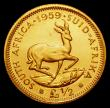 London Coins : A172 : Lot 662 : South Africa Half Pound 1959 Gold Proof KM#53 nFDC with minor hairlines and very light toning, retai...