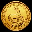 London Coins : A172 : Lot 665 : South Africa Pound 1959 Gold Proof KM#54 nFDC with very light toning, retaining practically full min...