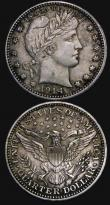 London Coins : A172 : Lot 690 : USA (2) Quarter Dollar 1914 Breen 4215 GVF/VF with light toning, Five Cents 1918S Breen 2606 GVF wit...