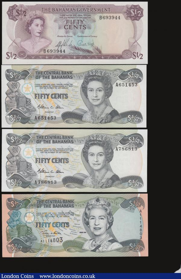 Bahamas 1/2 Dollars (4) L 1965 Pick 17, L 1974 (1984) Pick 42a (2), 2001 Pick 68 all Unc : World Banknotes : Auction 172 : Lot 72