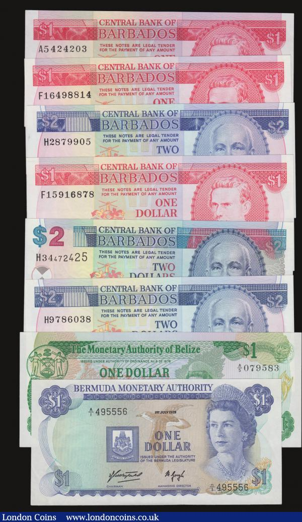 Barbados $1 1973 Pick 29 (3) $2 1980 Pick 30a ,1986 Pick 36 and 2000 Pick 54, Belize $1 1.6.1980 Pick 38 all Unc, Bermuda One Dollar 1.7.1975 serial no. A/1 495556 Unc : World Banknotes : Auction 172 : Lot 73