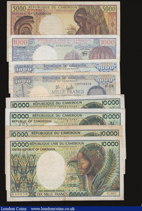 Cameroon (8) 10000 Francs (4) Signature 12 Oye Mba and Tchepannou (1981-1989) Pick 20 C.001 prefix, E.001 and Pick 23 Y.1 prefix (2) Fine to Good Fine with a little foxing, 5000 Francs 1984 undated issue Pick 22 Near Fine, 1000 Francs (3) 1984 undated issue Pick 21 Fine, 1000 Francs 1-1-1988 Pick 26a Fine, some folds, and 1-1-1990 Pick 26b Near Fine with some light foxing, Gambia (6) 200 Dalasis 2015 undated issue Pick 36 About UNC, 100 Dalasis 2015 undated issue Pick 35 UNC, 50 Dalasis 2015 undated issue Pick 34, 20 Dalasis Pick 33 UNC, 10 Dalasis Pick 32 UNC, 5 Dalasis 2015 undated issue Pick 31 UNC all issues with Yahya A.J.J. Jammeh at the right : World Banknotes : Auction 172 : Lot 77