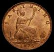 London Coins : A172 : Lot 934 : Farthing 1875 Large Date, 5 Berries, Freeman 528 dies 3+C, the obverse with traces of lustre, the re...