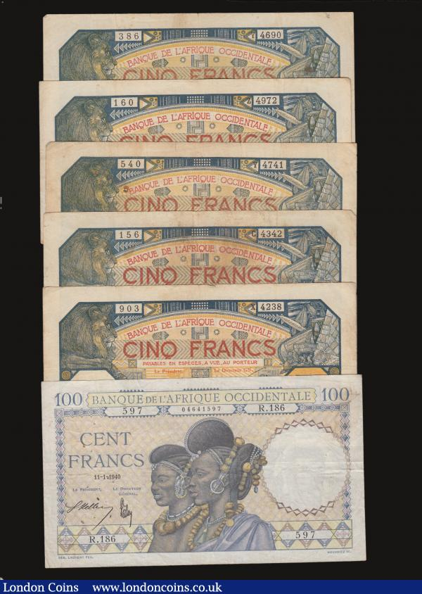 French West Africa (6) 100 Francs 1940 issue Pick 23 About Fine with some folds and staple holes, Five Francs (5) Dakar 1929 issues (2) Pick 5Bf VG each with a staple hole and a small edge tear, Dakar 1932 issues (3) Pick 5Bf VG to Fine two with staple holes, and with some foxing : World Banknotes : Auction 172 : Lot 96