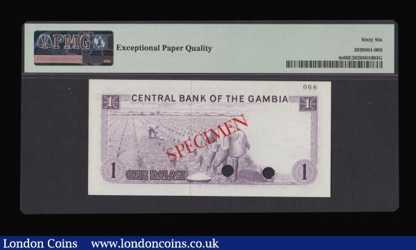 Gambia Central Bank One Dalasi Specimen D000000 066, undated (1971-1987 issue) Pick 4s punch hole cancelled, Watermark: Crocodile's Head. In a PMG holder and graded Gem Uncirculated 66 Exceptional Paper Quality : World Banknotes : Auction 172 : Lot 98
