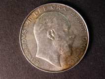 London Coins : A122 : Lot 1640 : Halfcrown 1908 ESC 753 NEF with a darker toning area on the obverse