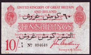 London Coins : A128 : Lot 110 : Treasury ten shillings Bradbury T15 serial Y/9 094648 issued 1915, Dardanelles campaign issue wi...