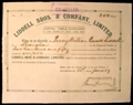 London Coins : A129 : Lot 26 : China, Liddell Bros. & Co. Ltd., incorporated Hong Kong, certificate No.2 for shares...