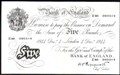 London Coins : A129 : Lot 309 : Five pounds Peppiatt white B255 thick paper dated 4th December 1944 serial E80 090314, faint ton...