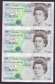 London Coins : A130 : Lot 142 : Five pounds Kentfield C107 issued 1993, an uncut trio serial AB16, AB17 & AB18 999705...