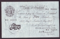 London Coins : A130 : Lot 172 : Five pounds Peppiatt white B264 dated 8th May 1947 serial M12 004022, about VF